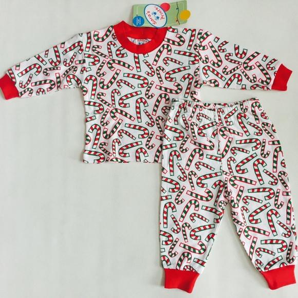 Sara/'s Prints Red Green Striped Christmas PJs Pajamas Girls Boys Holiday Kids